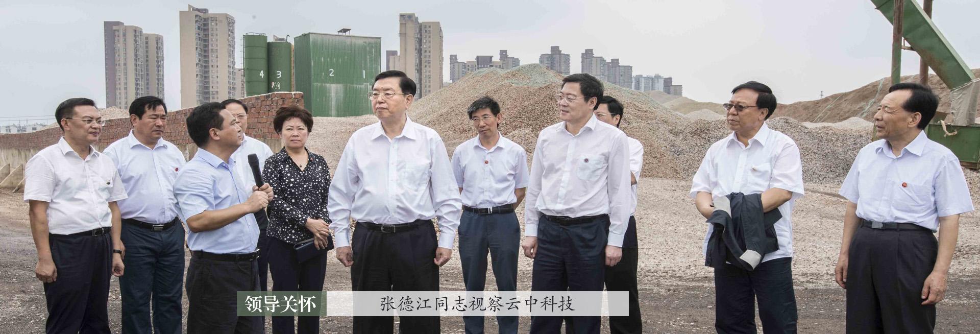2017年8月15日,时任全国人大常委会委员长张德江视察mg4355科技建筑垃圾再生基地